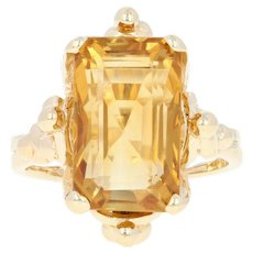Citrine Ring - 14k Yellow Gold Size 5 1/4 Solitaire 6.50ct