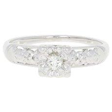 Vintage Diamond Engagement Ring - 14k White Gold Milgrain Round Brilliant Cut