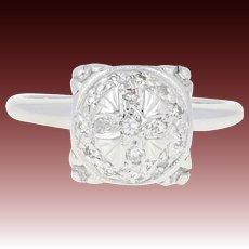 Vintage Diamond Cross Ring - 14k White Gold Millgrain Ornate Single Cut