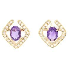 Amethyst & Diamond Earrings - 18k Yellow Gold Pierced Oval Brilliant 3.10ctw