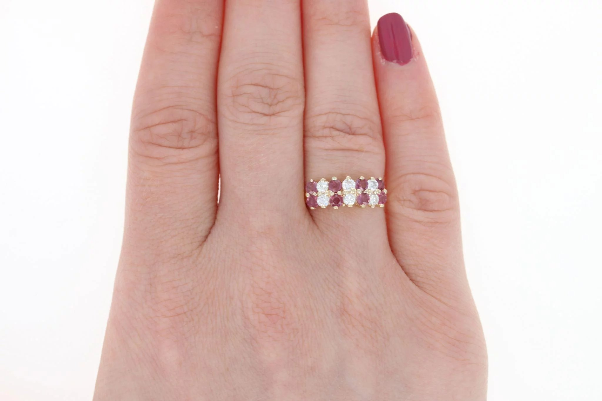 Tiered Ruby & Diamond Ring - 14k Yellow Gold Round Brilliant 1.20ctw ...