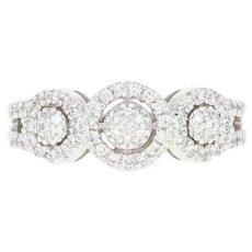 Diamond Halo Ring - 14k White Gold Round Cut .33ctw