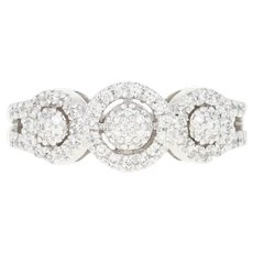 Diamond Halo Ring - 14k White Gold Round Cut .33ctw