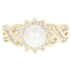 Cultured Pearl & Diamond Halo Ring - 14k Yellow Gold Round Brilliant .45ctw