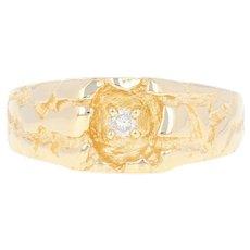 Men's Diamond Ring - 14k Yellow Gold Nugget Texture Round Brilliant
