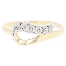 Ribbon Swirl Ring - 10k Yellow Gold Diamond-Accented Size 7 3/4