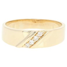 Men's Diamond Wedding Band - 14k Yellow Gold Ring Round Brilliant .12ctw