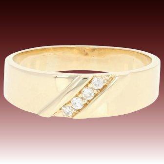 Men's Diamond Wedding Band - 14k Yellow Gold Ring Round Brilliant .12ctw
