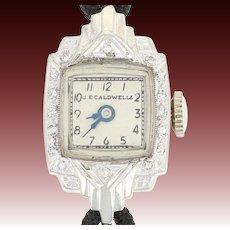Vintage J E Caldwell Diamond Ladies Watch -14k Gold Mechanical Mvt 2 Yr Warranty