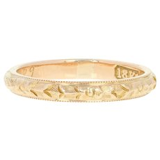 Art Deco Floral Wedding Band - 18k Yellow Gold Ring Vintage Millgrain Detail