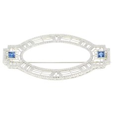 Art Deco Synthetic Sapphire Brooch - 14k White Gold Vintage Filigree Pin