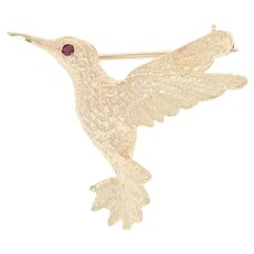 Ruby-Eyed Hummingbird Brooch - 14k Yellow Gold Pin Textured Feather Detail