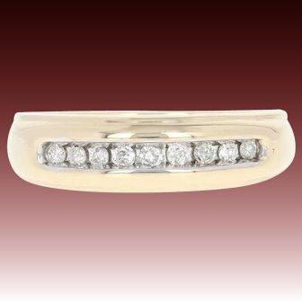 Men's Diamond Wedding Band - 10k Yellow Gold Ring Round Brilliant .18ctw