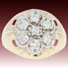 Men's Diamond Ring - 14k Yellow Gold Size 9 3/4 - 10 Round Cut 1.00ctw