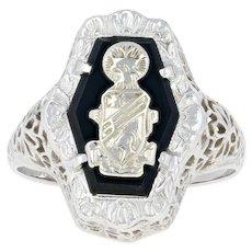Sorority Crest Ring - 10k White Gold Filigree Art Deco Onyx Mystery Society