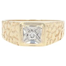 Men's Diamond-Accented Ring - 10k Yellow Gold Nugget Texture