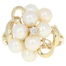 Cultured Pearl Cluster Ring - 10k Yellow Gold Diamond Accent Size 7 - 7 1/4