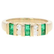 Emerald & Diamond Band Ring - 14k Yellow Gold Step Cut Square .46ctw