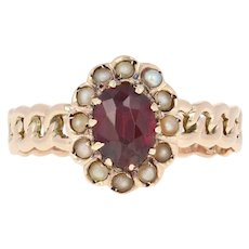 Victorian Garnet & Seed Pearl Halo Ring - 14k Gold Antique Oval Brilliant .74ct
