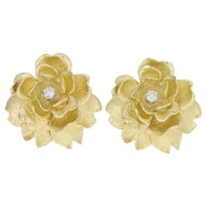 Diamond Flower Blossom Earrings - 14k Gold Non-Pierced Round Brilliant .18ctw
