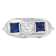 Art Deco Diamond & Synthetic Sapphire Ring - 18k Gold Vintage European .31ct