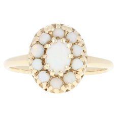 Vintage Opal Halo Ring - 14k Yellow Gold Oval Cabochon .78ctw