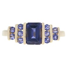 Iolite Ring - 14k Yellow Gold Size 8 Solitaire with Accents 1.40ctw