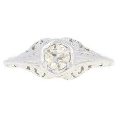 Art Deco Diamond Solitaire Ring - 14k White Gold Vintage Old European .37ct