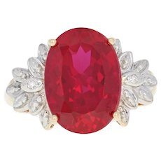 Synthetic Ruby Ring - 10k Yellow Gold Diamond Accents Oval Brilliant 7.75ct