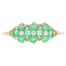 Emerald Cluster Ring - 14k Yellow Gold Round Brilliant .70ctw