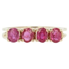 Ruby Ring - 14k Yellow Gold Size 6 Oval Brilliant .80ctw