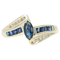 Sapphire & Diamond Bypass Ring - 10k Yellow Gold Marquise Brilliant .86ctw