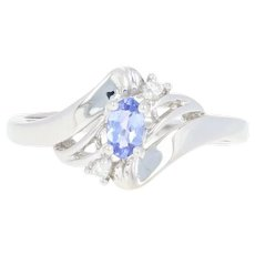Tanzanite & Diamond Bypass Ring - 14k White Gold Oval Brilliant .30ctw
