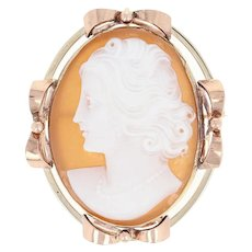 Vintage Carved Shell Cameo Brooch - 10k Yellow & Rose Gold Convertible Pendant