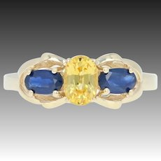 Blue & Yellow Sapphire Bow Ring - 14k Gold Three-Stone Oval Brilliant 1.30ctw