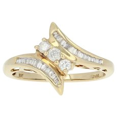 Diamond Bypass Ring - 10k Yellow Gold Round Brilliant .25ctw