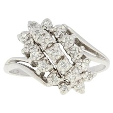Diamond Waterfall Ring - 10k White Gold Cluster Bypass Single Cut .20ctw