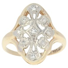 Art Deco Diamond Ring - 14k Yellow Gold Size 4 Women's Vintage