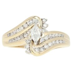 Diamond Bypass Ring - 14k Yellow Gold Size 7 Marquise Cut .50ctw