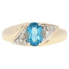 London Blue Topaz & Diamond Ring - 10k Yellow Gold Size 6 3/4 Oval 1.13ctw