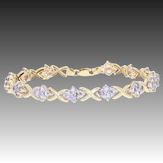 "Tanzanite Link Bracelet 7"" - 10k Yellow Gold Floral Clusters 3.92ctw"