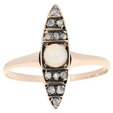 Victorian Opal & Diamond Ring - 10k Yellow Gold Antique Cabochon .32ctw
