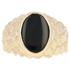 Men's Onyx Ring - 10k Yellow Gold Nugget Texture Size 10 1/2