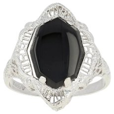 Art Deco Onyx Filigree Ring - 10k White Gold Vintage Open Cut Carved Band