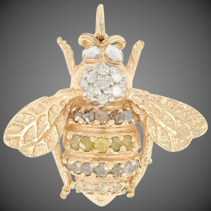 ee6bc4008b08f Diamond Bumble Bee Pendant - 10k Yellow Gold Round Cut .32ctw