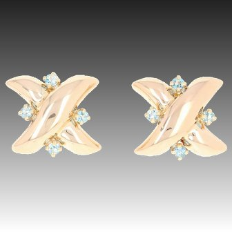 Retro Synthetic Quartz X Earrings - 14k Rose Gold Blue Round Brilliant .45ctw