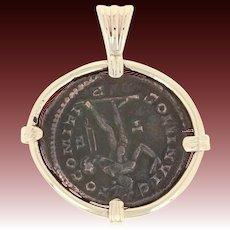 Constantius Bronze Follis Ancient Coin Pendant 14k Gold Frame C. 300 AD Roman