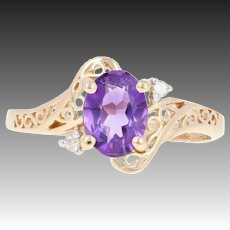 Amethyst Bypass Solitaire Ring - 14k Gold Diamond Accent Open Filigree 1.18ctw