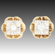 Vintage Diamond Flower Stud Earrings 14k Gold Transitional Round Brilliant.14ctw