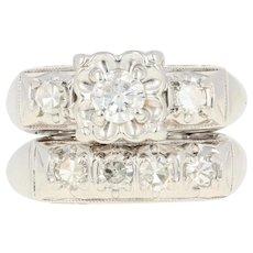 Vintage Diamond Engagement Ring & Wedding Band - 14k Gold Round Brilliant .58ctw